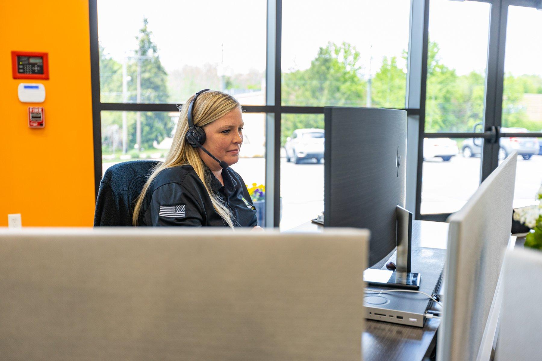 Danielle Whalen working in customer service
