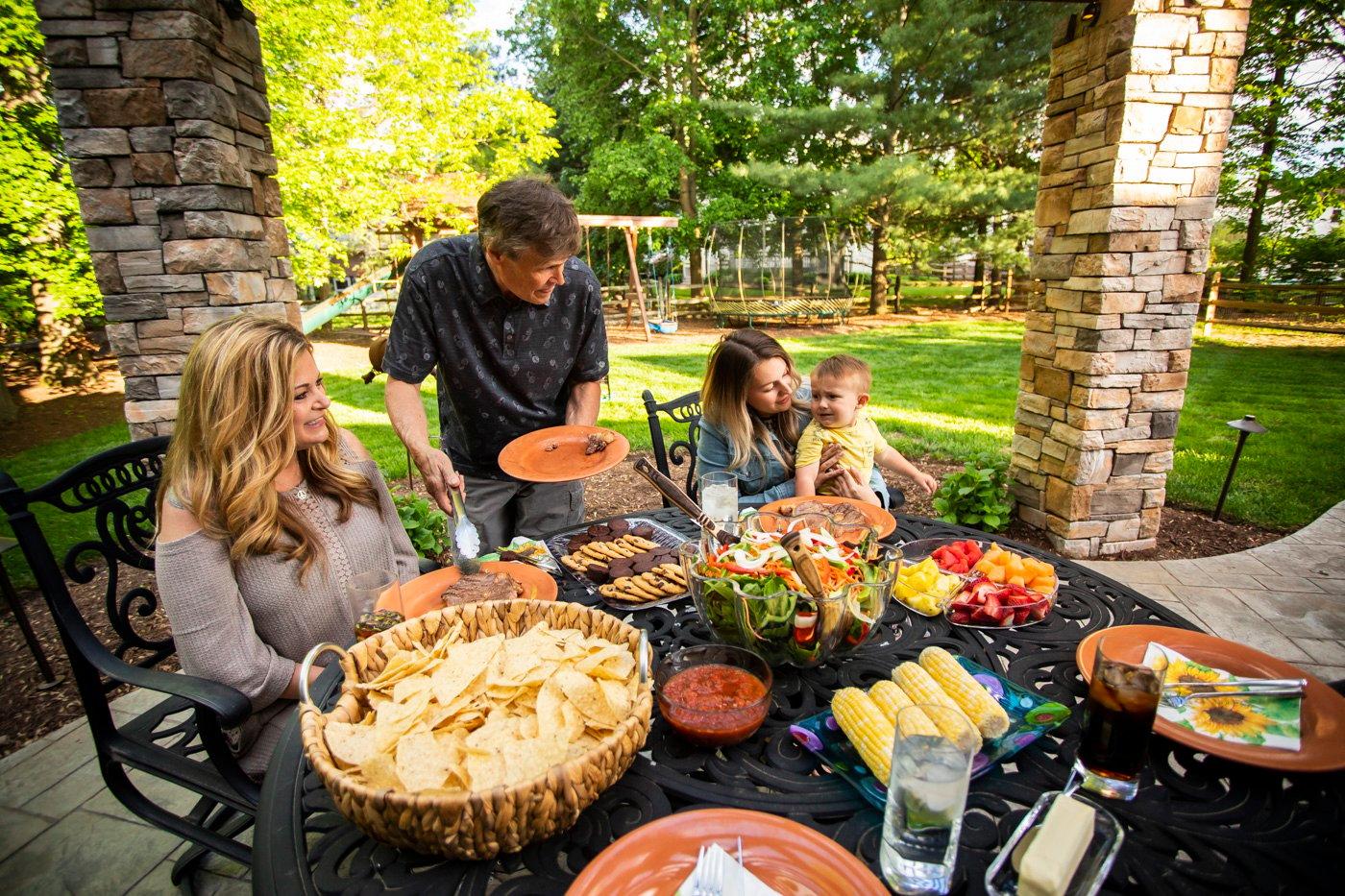 Lori Wittwer enjoying dinner with her family