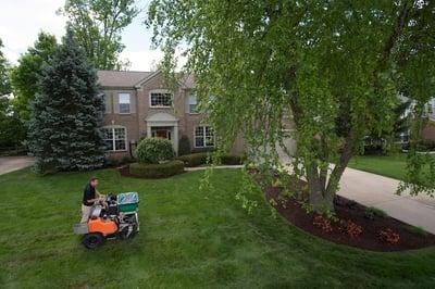 lawn care treatment service on Cincinnati lawn