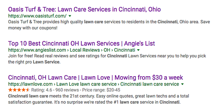 Understand how Lawn Love Cincinnati and Angie's List promote certain lawn care companies.