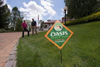 Oasis turf and tree lawn care sign in nice lawn in Dayton, Oh