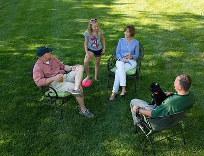 neighbors enjoying lawn care