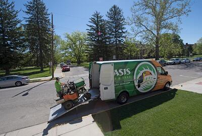 Oasis Turf and Tree Lawn care service truck in Dayton, Oh