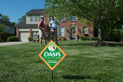 Oasis tree care consultation and sign in lawn in Cincinnati