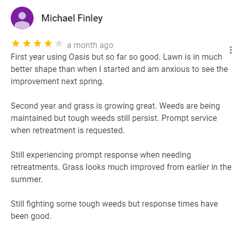Oasis customer review from Google