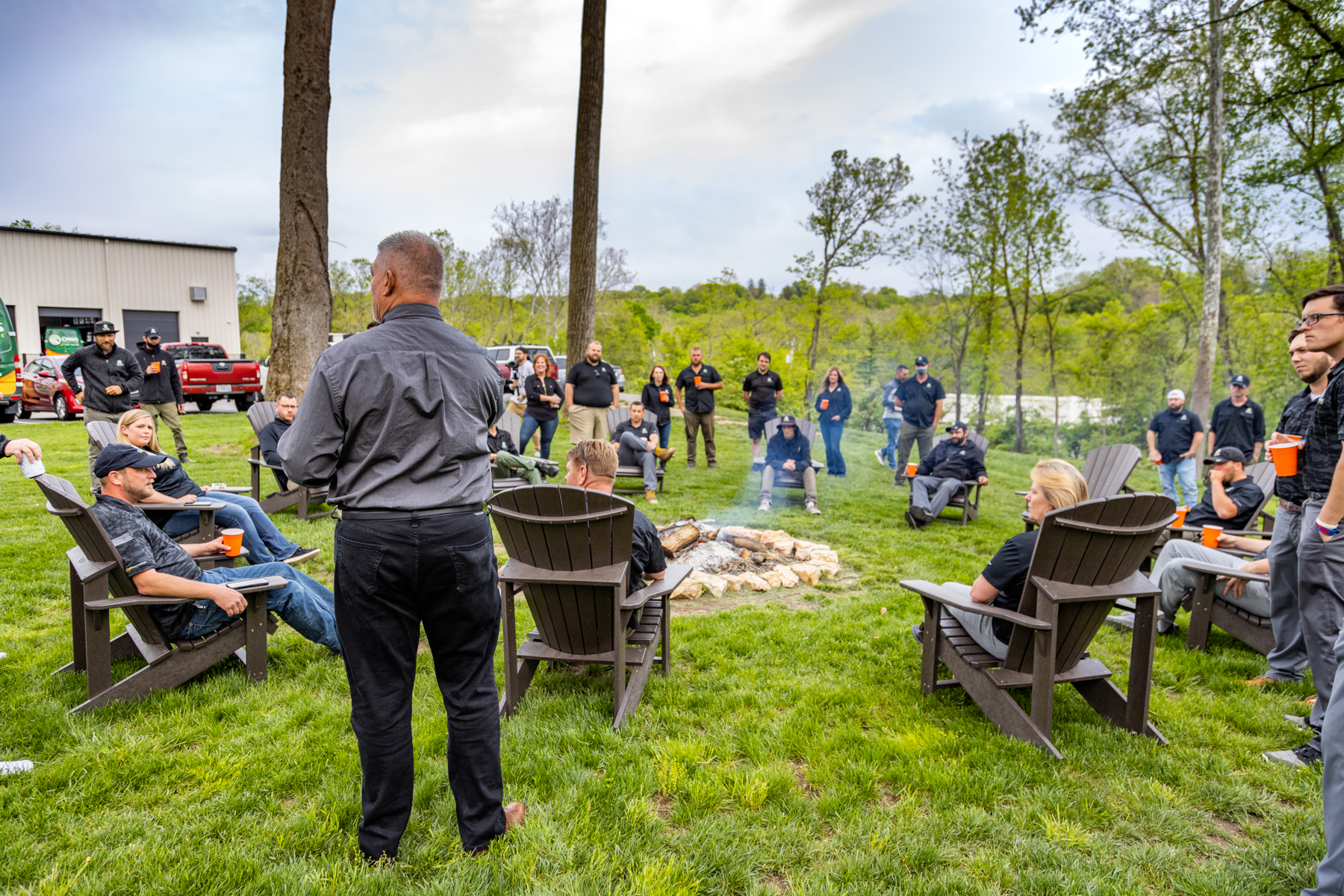 Oasis outdoor greenspace, firepit and hangout area